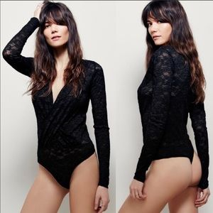 Free People sexy black lace body suit